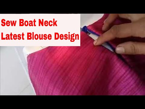 Latest Boat Neckline Blouse with Piping Button back neck design sewing in english