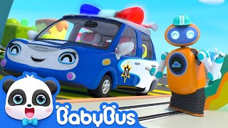 Magical robot gas pumper is here to serve police car, tow truck, dump truck, and little car! BabyBus - Nursery Rhymes ...