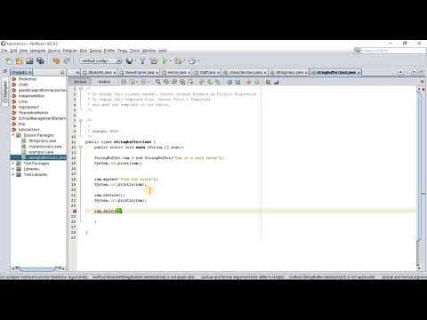 Java programming tutorial with Official Hord - String Buffer Class (Reverse and Delete)