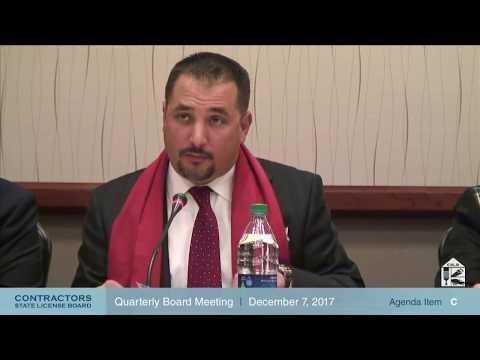 CSLB Quarterly Board Meeting December 7, 2017