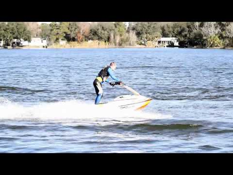 First flat water back flip on stand up jet ski