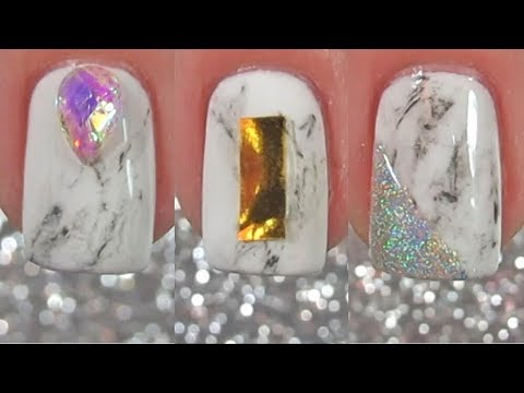 Easiest Marble Stone Nail Art ON NATURAL NAILS