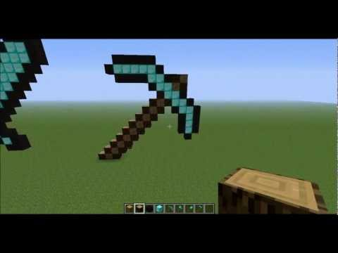 Minecraft Pixel Art - How to make a Diamond Pickaxe in Creative
