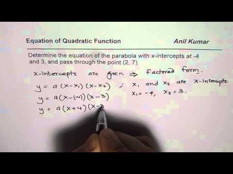 Determine Quadratic Equation From X Intercepts and a Point