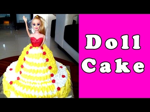 BARBIE DOLL CAKE - Making & Decorating, Recipe without Fondant [Hindi] by Geetika