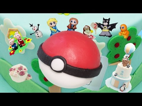 How to make a pokeball as cake topper with fondant