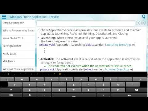 Demo of Learn Windows Phone Programming app on Android Tablet