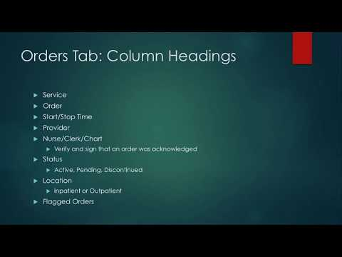 Intro to CPRS For Nursing Students 13: Orders Tab - Column Headings