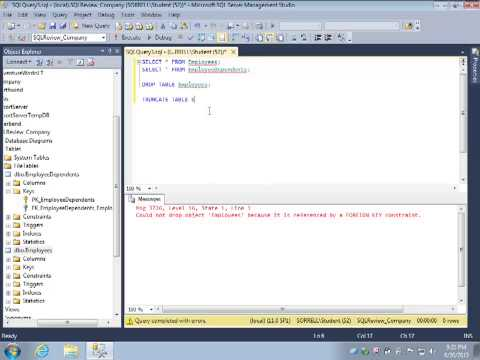 SQL Review Video 4: DROP TABLE