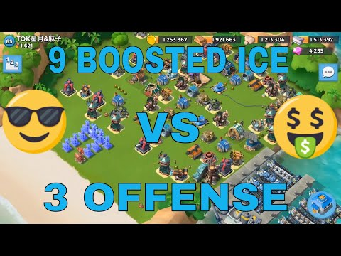 Boom Beach - Insane difficult base 9 BOOSTED ICE taken down with just 3 offense