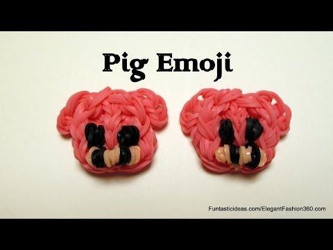 Rainbow Loom Pig Face Emoji/Emoticon Charm - How to