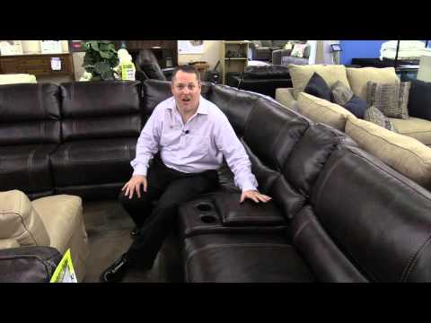 Sanford sectional, leather furniture, easy to clean, Hudson's Furniture in Orlando area