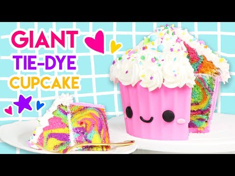 How to Make a GIANT Rainbow Tie-Dye Cupcake!