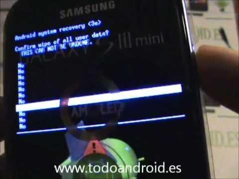 Resetear a modo fábrica el Samsung Galaxy S3 mini mediante menus y botones fisicos