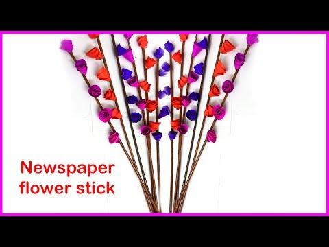 How to make Newspaper flower stick