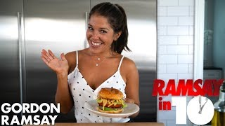 Gordon Ramsay Challenges Mia Castro To Make The Perfect Tailgate Turkey Burger | Ramsay in 10