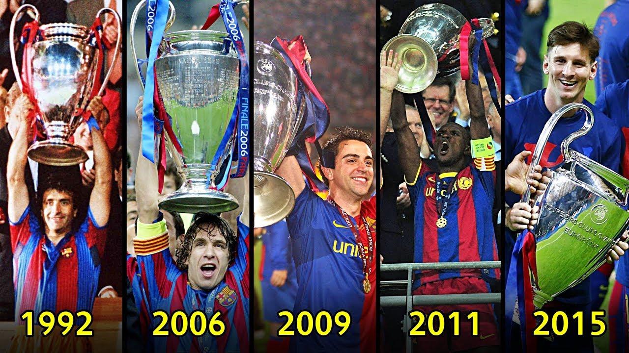 كل بطولات برشلونة الـ 5 في دوري أبطال أوروبا - 1992/2015 🔥