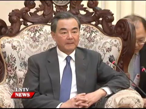 Lao NEWS on LNTV: Lao leaders receive courtesy calls from Chinese Foreign Minister.25/4/2016.
