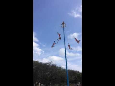 Crazy Mexican Guys Flying Upside Down In Playa Del Carmen