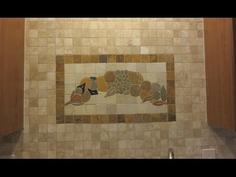 Time lapse Travertine mosaic tile Backsplash with plaque