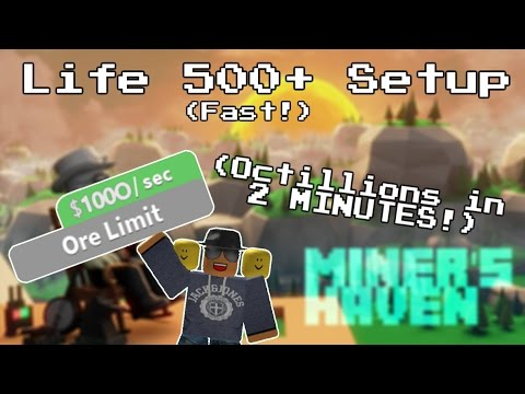 Miners Haven: Life 500+ setup (Octillions in 2 minutes) (Fast life 500 setup)