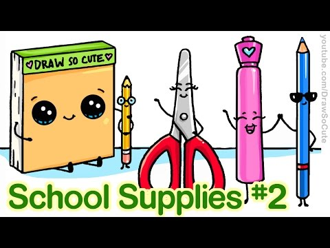 How To Draw Back To School Supplies 2 Cute And Easy Step By