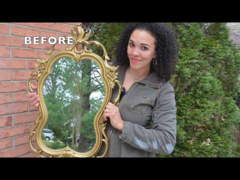 DIY Painted Mirror and Stenciled Wooden Journal With Metallic Paint! - Thrift Diving