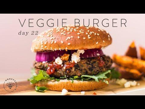 Healthy Black Bean Veggie BURGERS 🐝 DAY 22