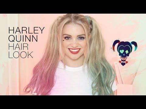 Halloween Harley Quinn Hair Tutorial with Hair Extensions | Milk + Blush