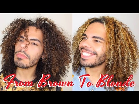VLOG Part 2: How To Dye Bleache Natural Curly Hair Blonde - Highlights Color On Naturally Curls