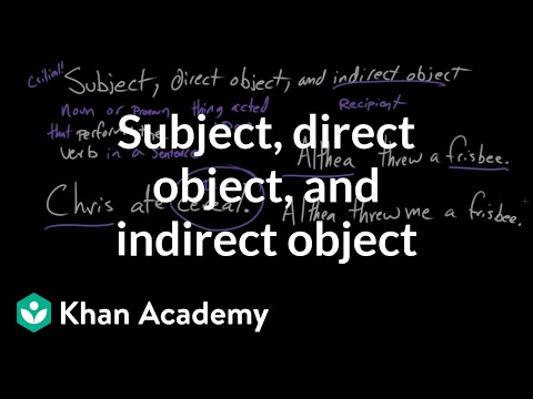 Subject, direct object, and indirect object | Syntax | Khan Academy