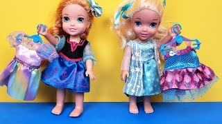 New Dress ! Elsa & Anna toddlers - fabrics store shopping - Barbie is the seller