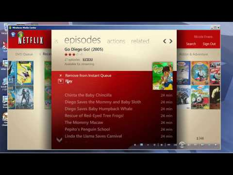 How Netflix works in Windows 7 Media Center