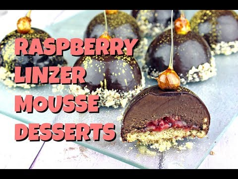 Raspberry Linzer Mousse Desserts || Gretchen's Bakery