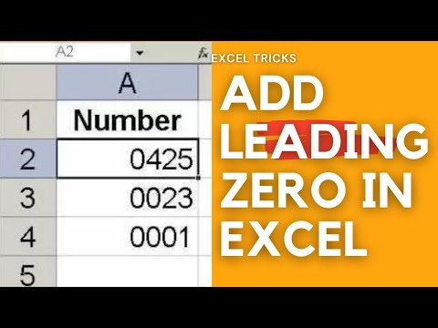 HOW TO KEEP LEADING ZEROS ON LEFT IN EXCEL 2010 VIDEO TUTORIAL