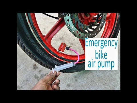 emergency bike air pump with syringe
