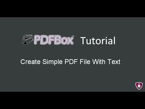 PDFBox Tutorial # 3 |  Create Simple PDF File With Text in java