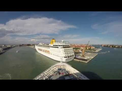Rhapsody of the Seas cruising out of Venice, Italy 2016 June in 4K