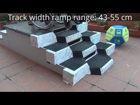 Wheelchair Climbing Stairs Smoothly by Alternating W&R RAMP STEPS (hand truck, trolley, cart,..)