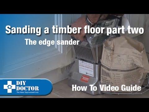 Sanding a timber floor Edge sander