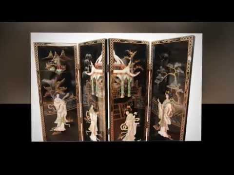 Oriental Chinese Black Mother Of Pearl Room Divider By Newquay Bonsai