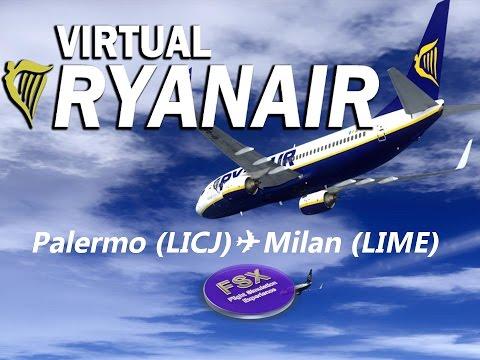 [FSX] [IVAO] Voando na Europa com Ryanair   Palermo  ✈ Milan Bergamo