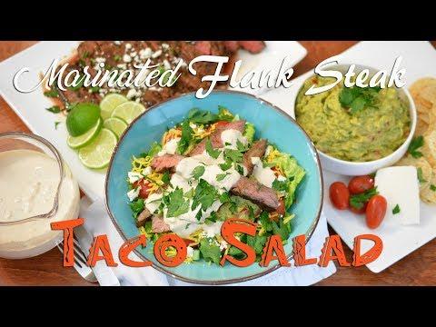 Marinated Flank Steak Taco Salad   feat. our Guacamole