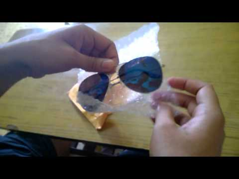 Unboxing Blue mirrored sunglasses from AliExpress (Shipped from China to INDIA)