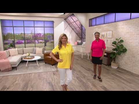 Denim & Co. Essentials Perfect Jersey Polo Top with Ruffle Detail on QVC