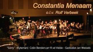 """Constantia Menaam (Menaldum) - """"Sorry"""" (Kyteman) Solisten Jan Wessels Componist Colin Beaders en arrangement van Rieks van der Velde.  Constantia stond deze dag onder leiding van Dirigent Rolf Verbeek. Gast solist is Jan Wessels op Bugel en Trompet."""