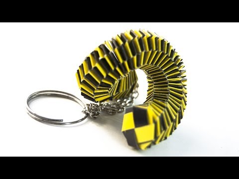 How to make a paper Slinky Keychain - Origami keyring - anti stress