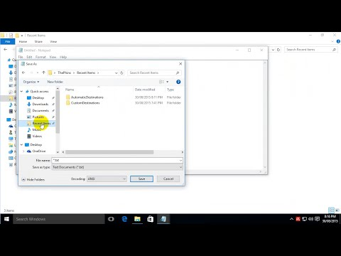How to enable Recent Items in Windows 10 Save As & Open dialog boxes