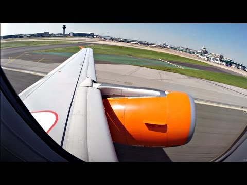 EasyJet Airbus A320 Takeoff from Manchester - ENGINE ROAR - GoPro Wing View