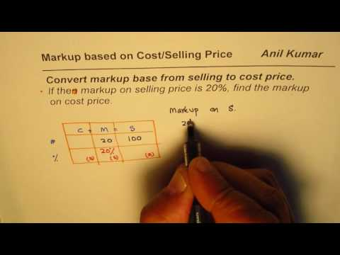 How to convert Markup based on Selling price to Cost base